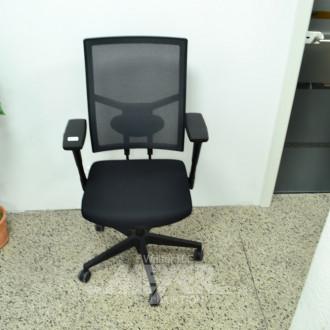 3 Armlehn-Bürodrehstühle, Stoff schwarz