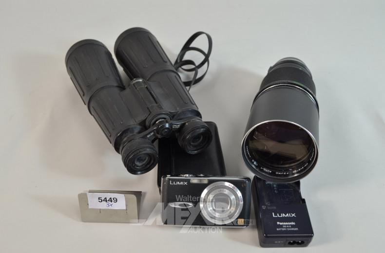 3 Teile  Optik: Fernglas, Objektiv,