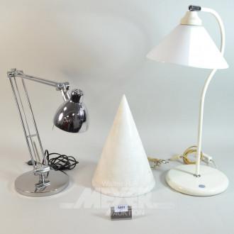 3 versch. Tisch- und Schreibtischlampen