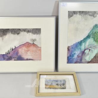 3 Landschaftsbilder, tlw. r.u. bez. AW 84