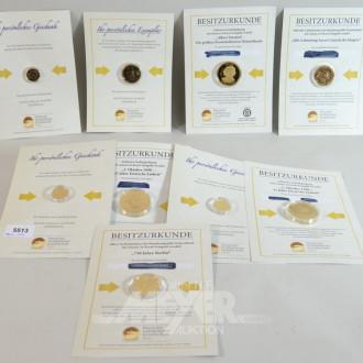 Posten Gedenkmünzen, vergoldet,
