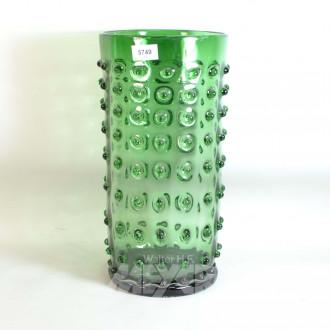 Glas-Bodenvase, grüngrundig,