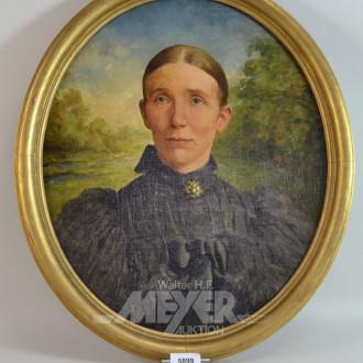 kl. ovales Gemälde, ''Dame im schwarzen