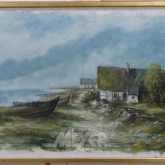 Gemälde, ''Fischerboote am Strand''