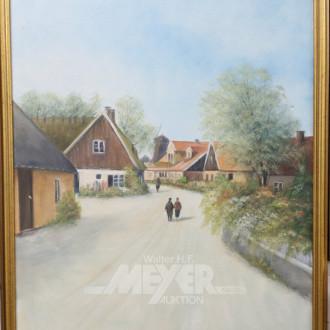 Paar Gemälde, ''Dorfstraße mit Staffagen,