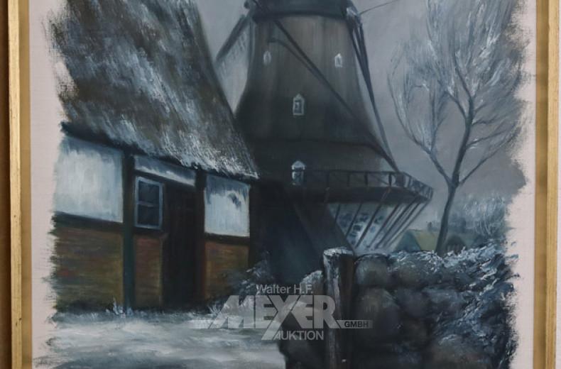 Gemälde, ''Mühle im Winter'',