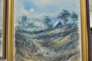 Gemälde, ''Landschaft mit Hütte'',