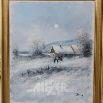 Gemälde, ''Winterlandschaft m. Staffagen''