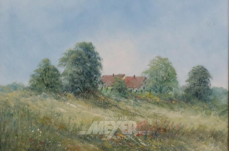 Gemälde, ''Landschaft mit Hütten'',