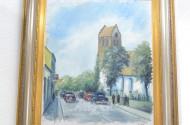 Gemälde, ''Autos vor Kirche'',