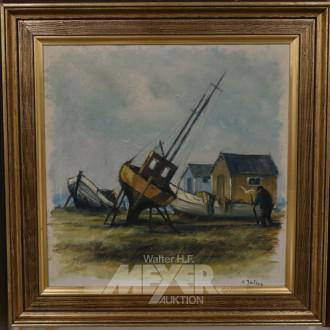 Gemälde, ''Fischerboot an Land'',