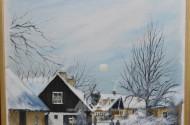 Gemälde, ''Dorfstarße im Winter'',