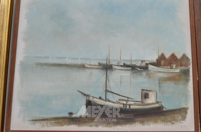 Gemälde, ''Fischerboot im Hafen'',