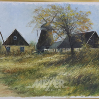 Gemälde, ''Gehöft mit Windmühle'',