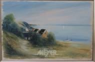 Gemälde, ''Fischerhütten am Ufer'',