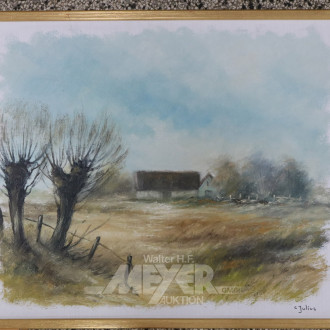 Gemälde, ''Landschaft mit Bauernhof''