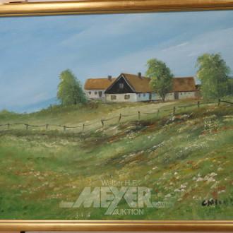 Gemälde ''Landschaft mit Gehöft'',
