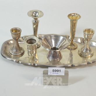 ovales Gläser-Serviertablett, Silber