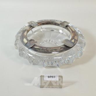 gr. Kristall-Aschenbecher mit 925er
