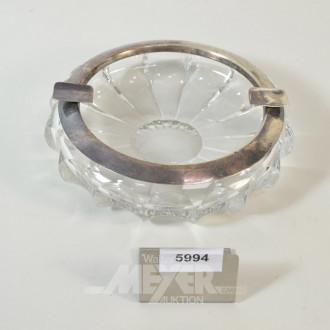 kl. Kristall-Aschenbecher mit 925er