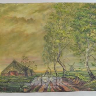 Gemälde ''Schafsherde vor Windmühle''