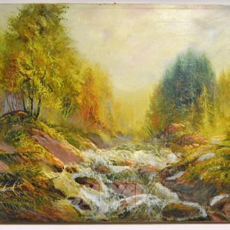Gemälde ''Waldstück mit Bachlauf''