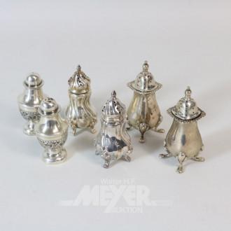 3 Paar Gewürzstreuer, Silber