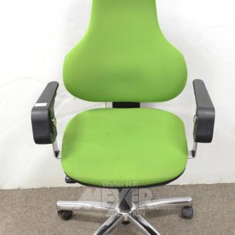 Armlehn-Bürodrehstuhl, Stoff grün