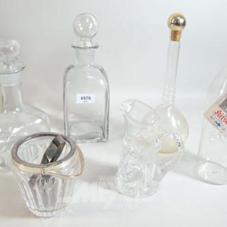6 Teile Kristall/Glas: 4 Karaffen,