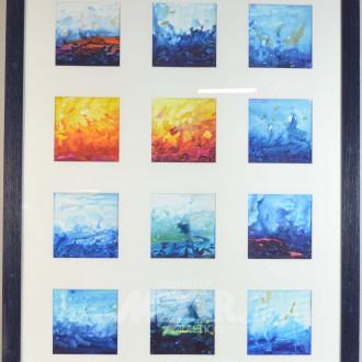 Collage best. aus. 12 kl. Aquarellen