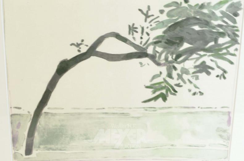 Aquarelle ''Baum am Ufer''