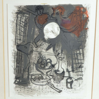 kl. Lithographie ''Stillleben in braun''