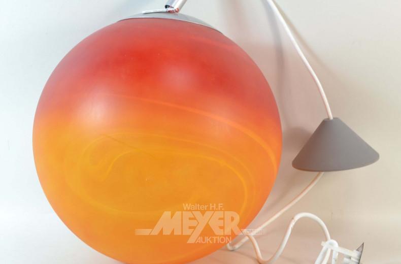 Kugel-Hängelampe, Glas orangefarben,