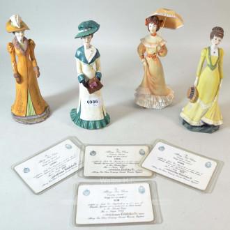 4 Porzellan-Figuren, ''Edeldamen''
