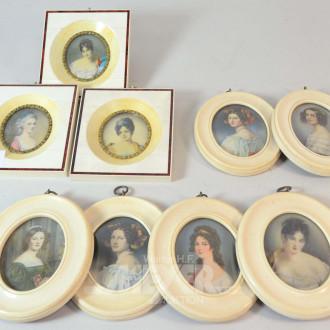 9 versch. Portrait-Miniaturen, gerahmt