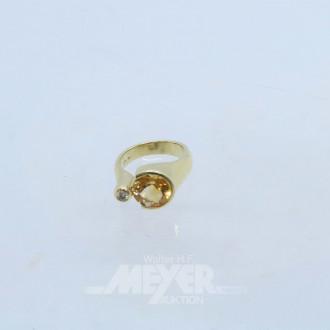 Ring, 585er GG, mit 1 rund fac. Citrin