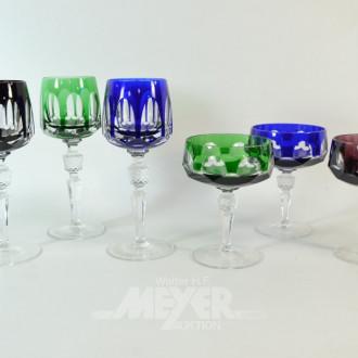3 farb. Weingläser u. 3 Champagner-Schalen