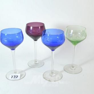 4 versch. farbige Römergläser