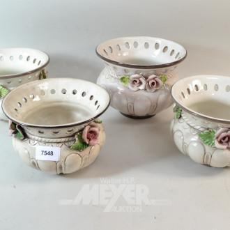 4 Keramik-Überfangtöpfe, Rosendekor,