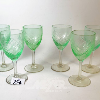6 farbige Weingläser, hellgrün