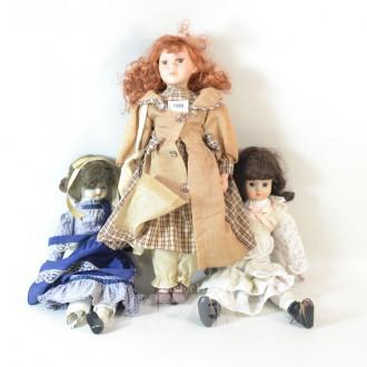 3 div. Puppen mit Porzellankopf