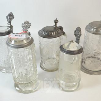5 versch. Kristall-Bierkrüge mit