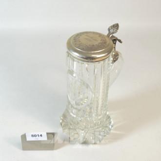 Kristall-Bierkrug, mit Silberdeckel