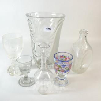 6 Teile Kristall: Vase, Karaffe,