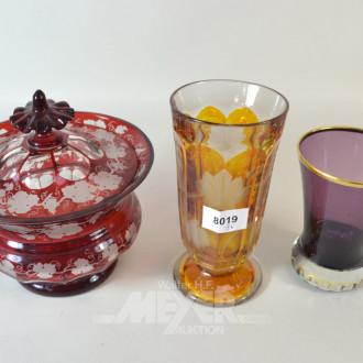 3 Teile Buntglas: Deckeldose, 2 Vasen