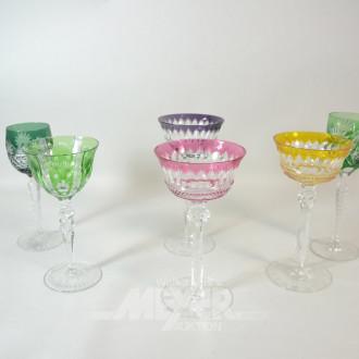 6 versch. farbige Kristall-Gäser