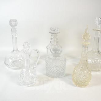 6 versch. Glas- und Kristall-Karaffen