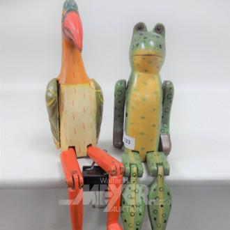 2 Holzfiguren ''Vogel und Frosch''