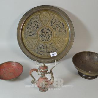 Konvolut Metall: Teller, Schalen und
