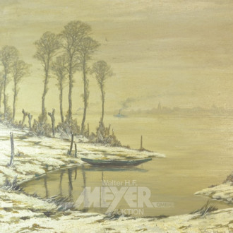 Gemälde  ''winterl. Uferlandschaft''